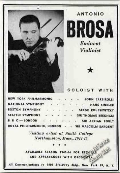 Antonio Brosa Photo Violin Recitals Booking (1945)