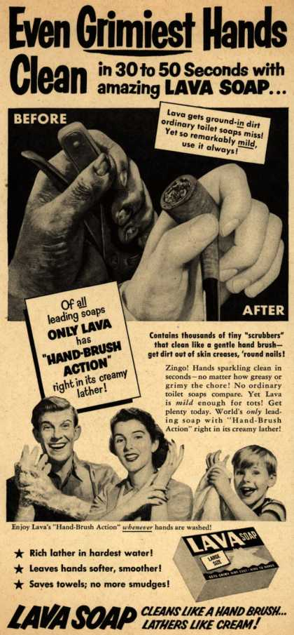 Procter & Gamble Co.'s Lava Soap – Even Grimiest Hands Clean (1952)