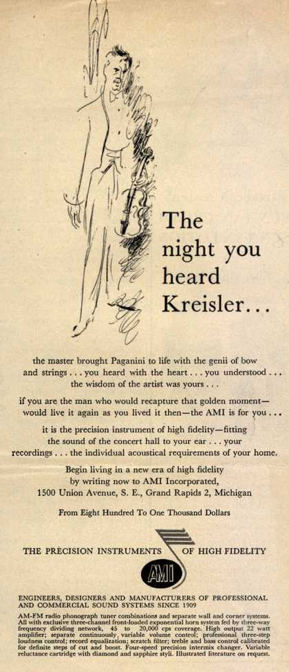 AMI Incorporated's AMI – The night you heard Kreisler... (1956)