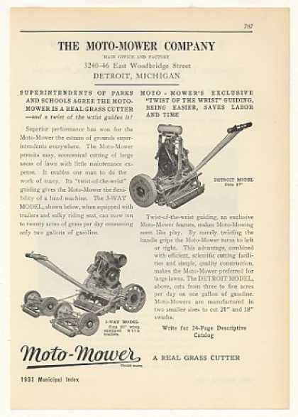 Moto-Mower Co 3-Way Detroit Model Lawn Mowers (1931)