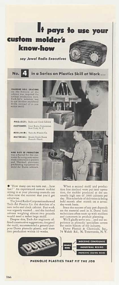 Jewel Clock Radio Durez Plastics Production (1949)