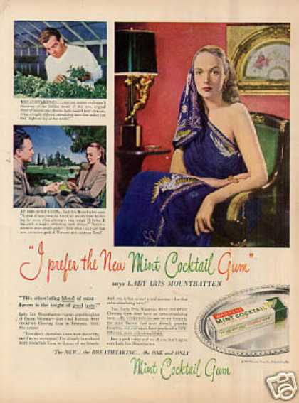 Warrens Mint Cocktail Gum Ad Lady Iris Mountbatten (1947)