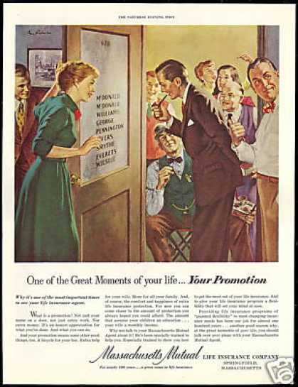 Massachusetts Life Insurance Job Promotion Art (1951)