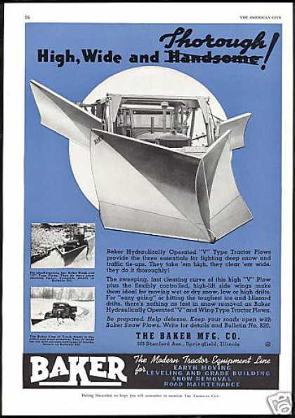 Baker Mfg. Co V Type Truck Plow Vintage (1941)