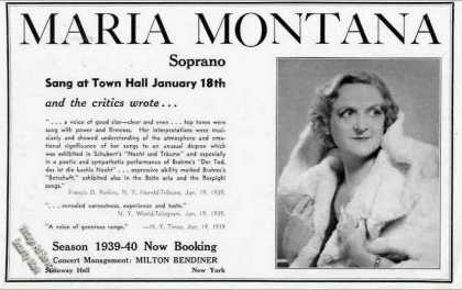 Maria Montana Soprano Photo Collectible Booking (1939)