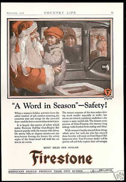 Firestone Tires Christmas Santa Vintage Art (1926)