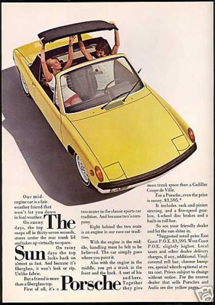 Yellow Sun Porsche 914 Car Photo Vintage (1971)