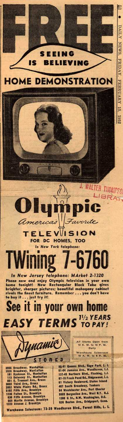 Olympic Television's Various – Free Seeing is Believing Home Demonstration (1952)
