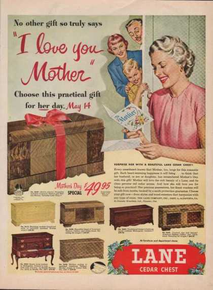 Lane Cedar Chest I Love You Mother Print A (1950)