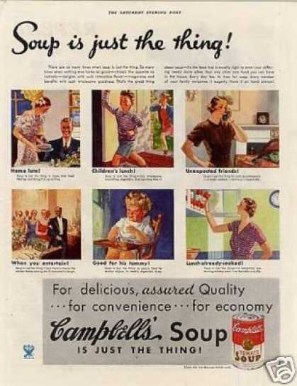 "Campbell's Tomato Soup Ad ""Soup Is Just... (1934)"
