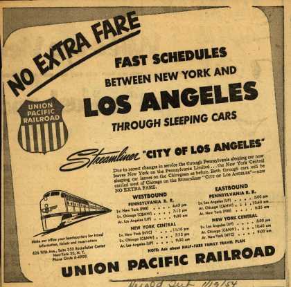 Union Pacific Railroad's City of Los Angeles – No Extra Fare Fast Schedules Between New York and Los Angeles Through Sleeping Cars (1954)