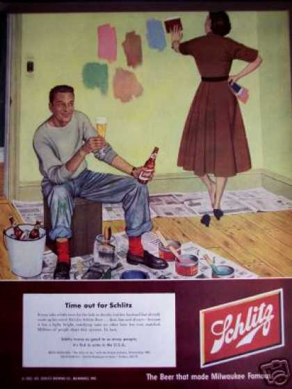 Husband & Wife Redecorating Art Schlitz Beer (1952)