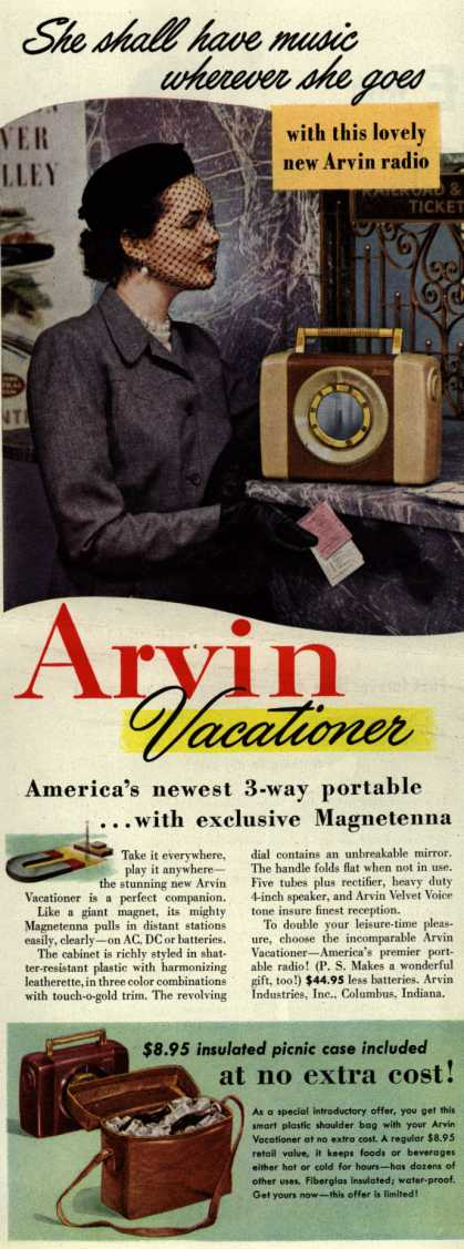 Arvin Radio's Radio – portable – She shall have music wherever she goes