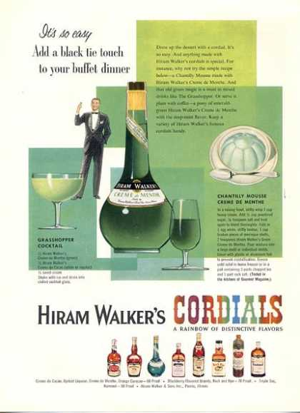 Hiram Walker's Cordials Liqueur Bottles (1956)