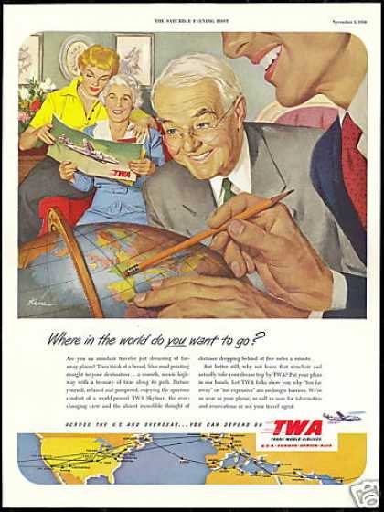 TWA Airlines Kane Art World Globe Vintage (1950)