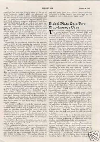 """Nickel Plate Gets Two Club-lounge Cars"" Article (1940)"