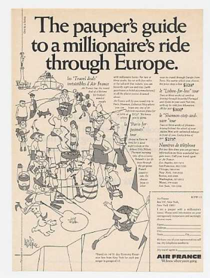 Air France Pauper's Guide Europe George Price (1969)