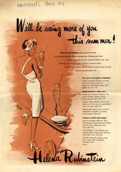 Helena Rubinstein's Various – We'll Be Seeing More Of You This Summer! Helena Rubinstein (1944)