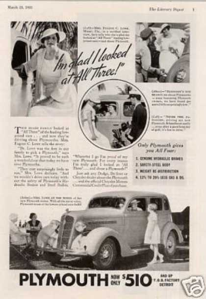 "Plymouth Car Ad ""I'm Glad I Looked... (1935)"