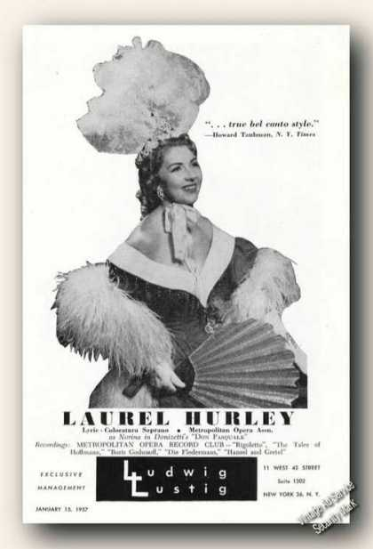 Laurel Hurley Photo Soprano Collectible (1957)