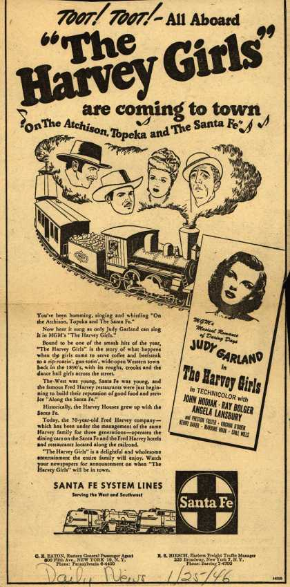 "Santa Fe System Line's Santa Fe and The Harvey Girls – Toot! Toot! -All Aboard ""The Harvey Girls"" are coming to town ""On The Atchison, Topeka and The Santa Fe"" (1946)"