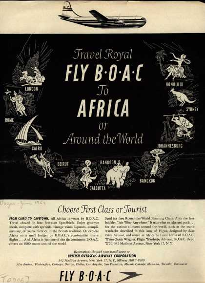 British Overseas Airways Corporation – Travel Royal FLY BOAC to AFRICA or Around the World (1954)