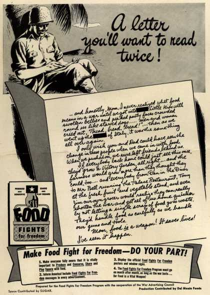 War Advertising Council's Food Fights For Freedom Program – A letter you'll want to read twice (1943)