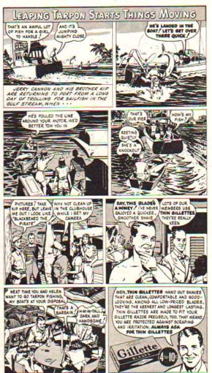 Gillette Razor Blade – Comic Strip – The Tarpon (1947)
