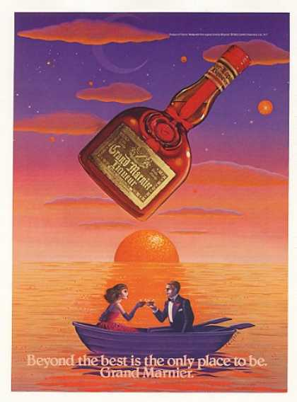 Grand Marnier Liqueur Couple Boat Seltzer art (1984)
