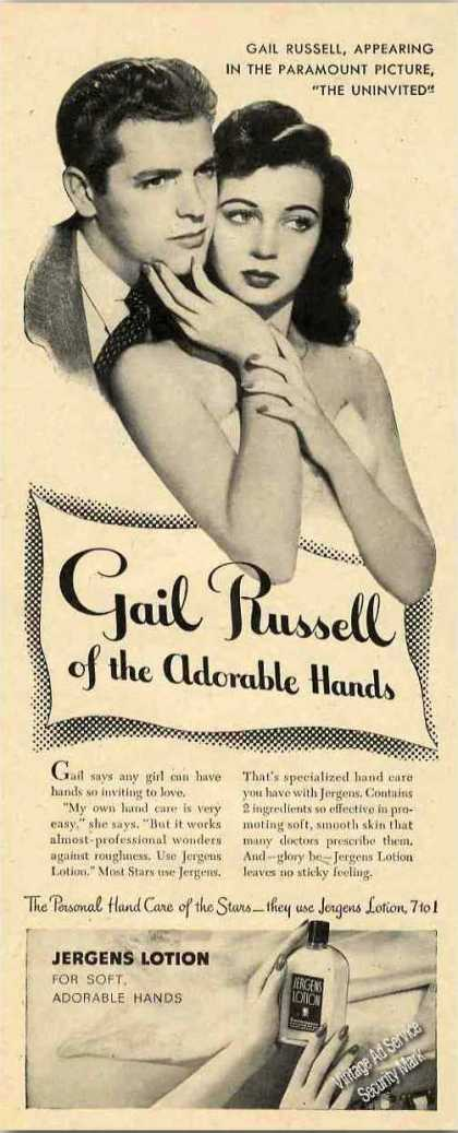 "Gail Russell ""Of the Adorable Hands"" Jergens (1944)"