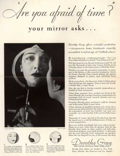 """Dorothy Gray – """"Are you afraid of time?"""" your mirror asks... (1932)"""