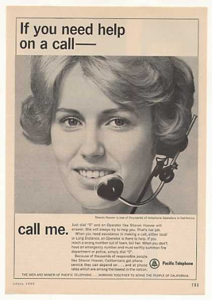 Pacific Telephone Operator Sharon Hoover Photo (1966)