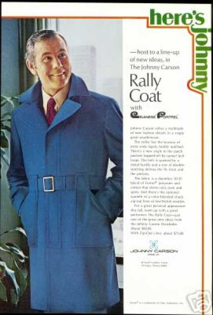 Johnny Carson Photo Fashion Coat Vintage (1970)