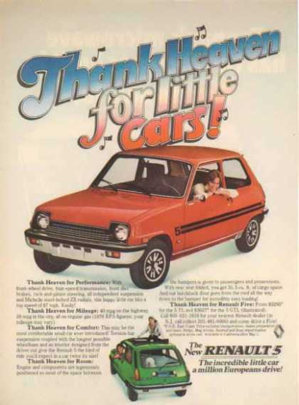 Renault 5 Car – Red- Thank heaven for little cars (1976)