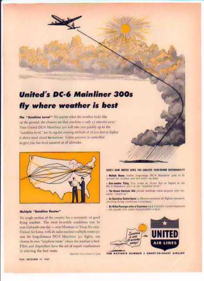 United Air Lines – DC-6 Mainliner 300s fly where weather is best (1949)