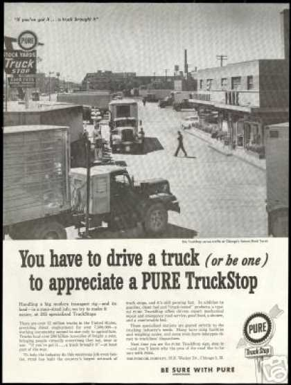 Chicago Stock Yards Truck Stop Photo Pure Oil (1959)