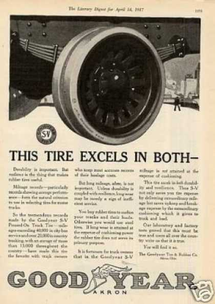 "Goodyear Tire Ad ""This Tire Excels... (1917)"