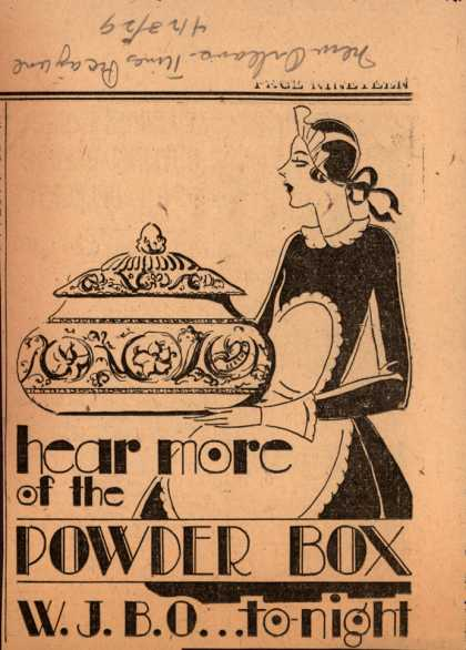 Powder Box radio program's Radio Program – hear more of the Powder Box (1929)