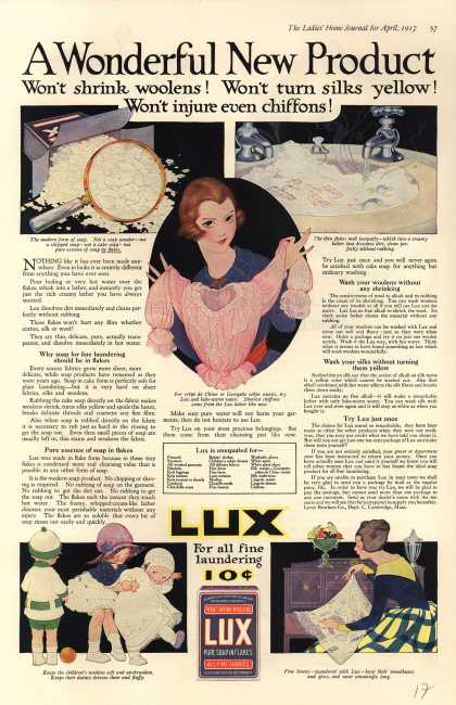 Lever Bros.'s Lux (laundry flakes) – A Wonderful New Product (1917)
