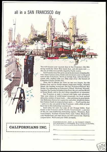 California San Francisco Travel David Shaw Art (1957)
