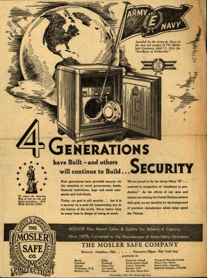 "Mosler Safe Co.'s Army Navy ""E"" – 4 Generations have Built – and others will continue to Build... Security (1943)"