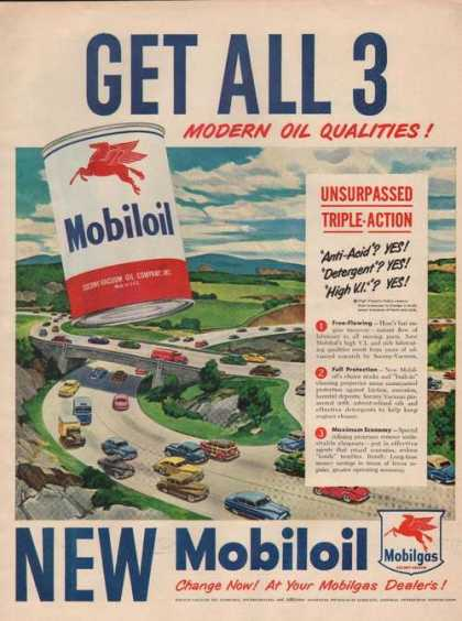 Mobil Oil Get All 3 Modern Car Oil Print A (1949)