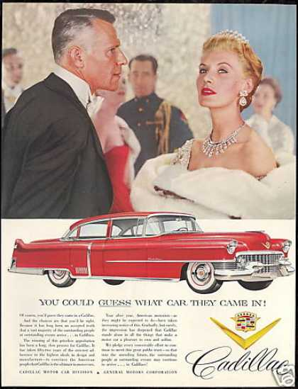Red Cadillac 4 Door Car Vintage Photo (1954)