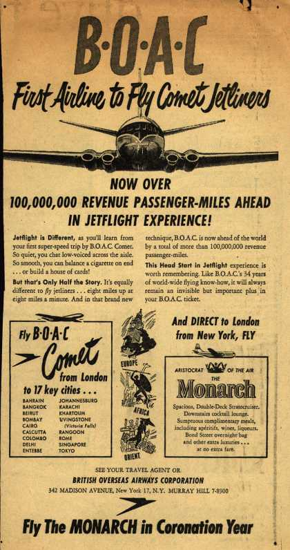 British Overseas Airways Corporation's Jetflight – BOAC First Airline to Fly Comet Jetliners (1953)
