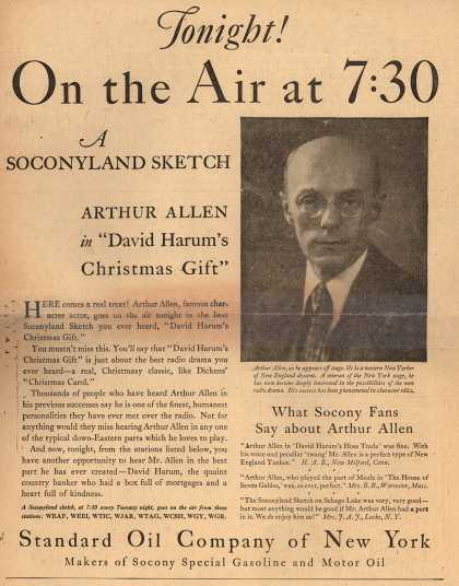 Standard Oil Co. of New York's A Soconyland Sketch radio program – Tonight! On the Air at 7:30 (1928)