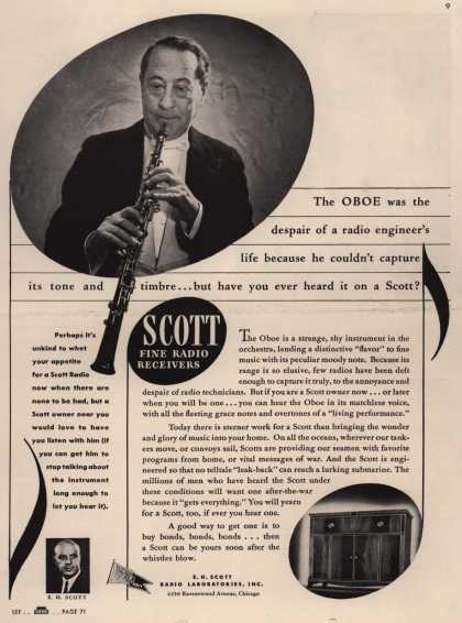 E.H. Scott Radio Laboratorie's Various – The Oboe was the despair of a radio engineer's life because he couldn't capture its tone and timbre... but have you heard it on a Scott? (1943)