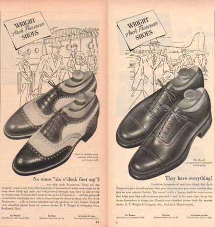 Wright Brand Shoes Ads – with Arch Preserver – Set of Two (1948)