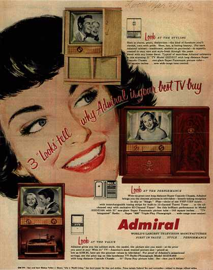"Admiral Corporation's Television – New 21"" Admiral TV Home Theatre In A Cabinet Only 28"" Wide (1953)"