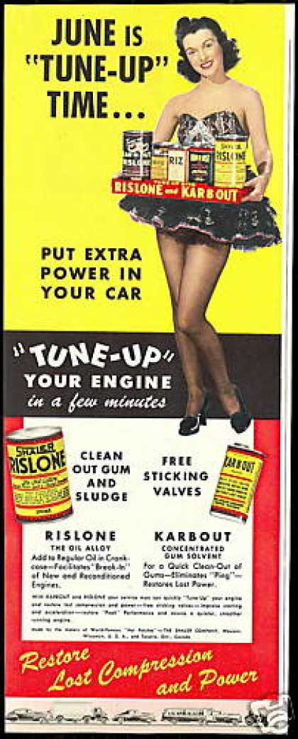 Pretty Woman Car Engine Rislone Kar-B-Out (1947)