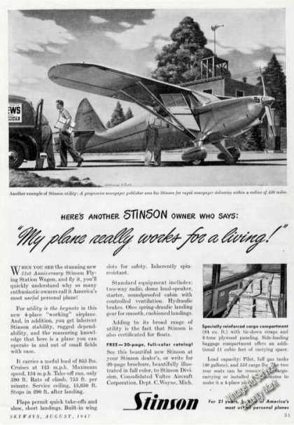 Stinson Airplane for Delivering Newspapers (1947)